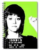Jane Fonda Mug Shot - Lime Spiral Notebook