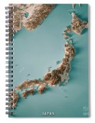 Japan 3d Render Topographic Map Neutral Border Spiral Notebook