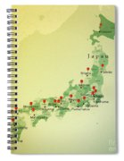 Japan Map Square Cities Straight Pin Vintage Spiral Notebook