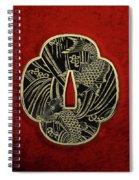 Japanese Katana Tsuba - Golden Twin Koi On Black Steel Over Red Velvet Spiral Notebook