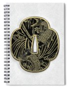 Japanese Katana Tsuba - Golden Twin Koi On Black Steel Over White Leather Spiral Notebook