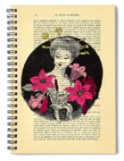 Japanese Lady With Cherry Blossoms Spiral Notebook