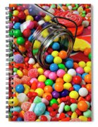 Jar Spilling Bubblegum With Candy Spiral Notebook