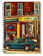 Java U Coffee Shop Montreal Painting By Streetscene Specialist Artist Carole Spandau Spiral Notebook
