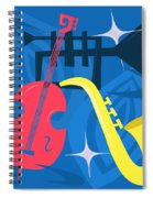 Jazz Composition With Bass, Saxophone And Trumpet Spiral Notebook