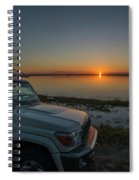 Jeep Driver Watching Sunset Over Peaceful River Spiral Notebook