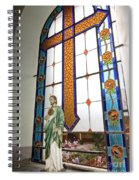 Jesus In The Church Window And School Girls In The Background Spiral Notebook