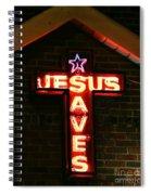 Jesus Saves In Neon Lights Spiral Notebook