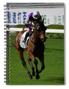 Jockey In Purple And White Riding Racehorse Spiral Notebook