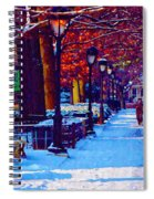 Jogging In The Snow Along Boathouse Row Spiral Notebook