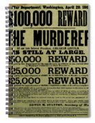 John Wilkes Booth Wanted Poster Spiral Notebook