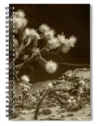 Joshua Trees And Boulders In Infrared Sepia Tone Spiral Notebook