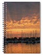 Just A Sliver Of The Sun - Sunrise God Rays At The Marina Spiral Notebook