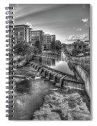 Just Before Sunset B W Reedy River Falls Park Greenville South Carolina Art Spiral Notebook