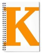 K In Tangerine Typewriter Style Spiral Notebook