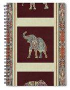 Kashmir Elephants - Vintage Style Patterned Tribal Boho Chic Art Spiral Notebook