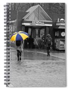 Kendall Square Rainy Day Cambridge Ma Blue And Yellow Spiral Notebook