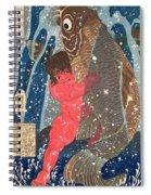 Kintoki Swims Up The Waterfall Spiral Notebook