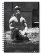Kneeling Monkey In Black And White Spiral Notebook