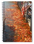 Koi Fishes In Feeding Frenzy Part Two Spiral Notebook