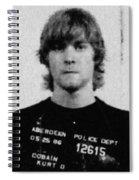 Kurt Cobain Mug Shot Painting Vertical Black And Gray Grey Spiral Notebook