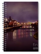 Kyoto Nighttime City Scenery Of Kamo River With Street Lights Re Spiral Notebook