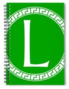 L Surrounded By Fret Wreath - White Spiral Notebook