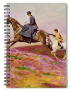 Lady Currie With Her Sons Bill And Hamish Hunting On Exmoor  Spiral Notebook
