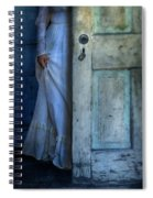 Lady In Vintage Clothing Hiding Behind Old Door Spiral Notebook