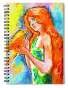 Lady With Canary Spiral Notebook