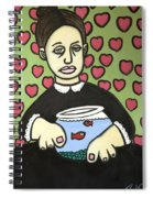 Lady With Fish Bowl Spiral Notebook