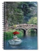 Lady With Parasol In Boat Spiral Notebook