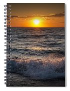 Lake Michigan Sunset With Crashing Shore Waves Spiral Notebook