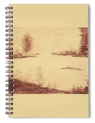 Lake Scene On Parchment Spiral Notebook
