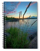 Lake Sunset And Sedge Grass Silhouettes, Pocono Mountains Spiral Notebook