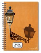 Lamp, Shadow And Burnt Umber Wall, Orvieto, Italy Spiral Notebook