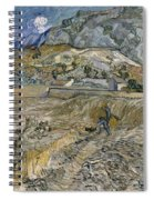 Landscape At Saint Remy Enclosed Field With Peasant Spiral Notebook