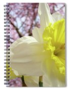 Landscape Daffodils Flowers Art Pink Tree Blossoms Spring Baslee Spiral Notebook
