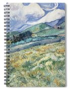 Landscape From Saint Remy At Wheat Fields  Van Gogh Series   By Vincent Van Gogh Spiral Notebook