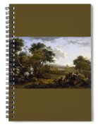 Landscape With A Hunting Party Nicolaes Claes Pietersz Berchem Spiral Notebook