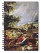 Landscape With A Rainbow Spiral Notebook