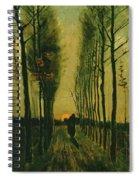 Lane Of Poplars At Sunset Spiral Notebook