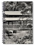 Lanterman's Mill Covered Bridge Black And White Spiral Notebook