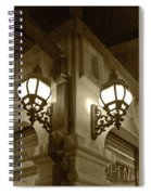 Lanterns - Night In The City - In Sepia Spiral Notebook