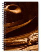 Lariat And Hat - Sepia Spiral Notebook