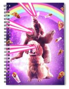 Laser Eyes Space Cat Riding Sloth, Dog - Rainbow Spiral Notebook