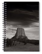 Last Light On Devils Tower Bw Spiral Notebook