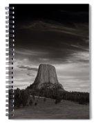Last Light On Devils Tower Bw Spiral Notebook