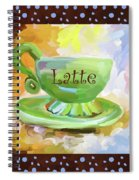 Latte Coffee Cup With Blue Dots Spiral Notebook