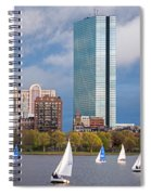 Lean Into It- Sailboats By The Hancock On The Charles River Boston Ma Spiral Notebook